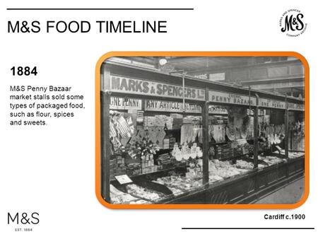 1884 M&S Penny Bazaar market stalls sold some types of packaged food, such as flour, spices and sweets. Cardiff c.1900 M&S FOOD TIMELINE.