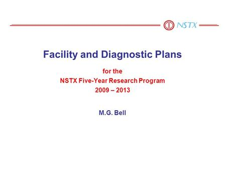 For the NSTX Five-Year Research Program 2009 – 2013 M.G. Bell Facility and Diagnostic Plans.