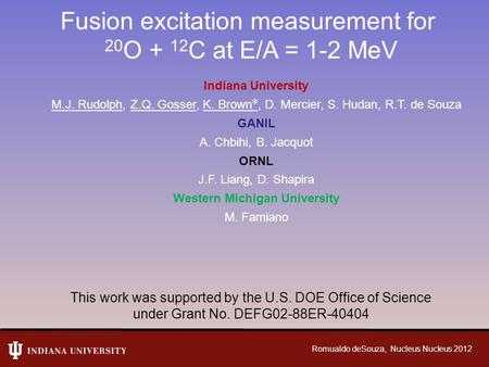 Fusion excitation measurement for 20 O + 12 C at E/A = 1-2 MeV Indiana University M.J. Rudolph, Z.Q. Gosser, K. Brown ✼, D. Mercier, S. Hudan, R.T. de.