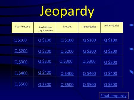 Jeopardy Foot Anatomy Muscles Ankle Injuries Q $100 Q $200 Q $300 Q $400 Q $500 Q $100 Q $200 Q $300 Q $400 Q $500 Final Jeopardy Ankle/Lower Leg Anatomy.