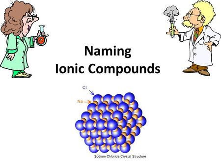 "Naming Ionic Compounds. Rules Name the metallic ion (cation) 1 st (whole name) Name the nonmetallic ion (anion) 2 nd, but change the ending to ""ide"" The."