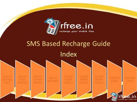 SMS Based Recharge Guide How To Add New User? How to Check Balance? How To Transfer Balance How To Recharge? Prepaid Mobile Codes-1 Prepaid Mobile Codes-2.