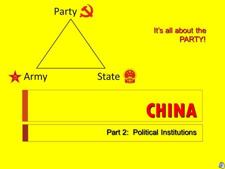 CHINA Part 2: Political Institutions It's all about the PARTY!