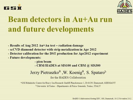 Beam detectors in Au+Au run and future developments - Results of Aug 2012 Au+Au test – radiation damage - scCVD diamond detector with strip metalization.