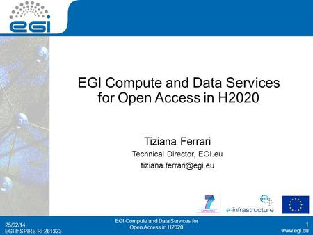 EGI-InSPIRE RI-261323 EGI Compute and Data Services for Open Access in H2020 Tiziana Ferrari Technical Director, EGI.eu