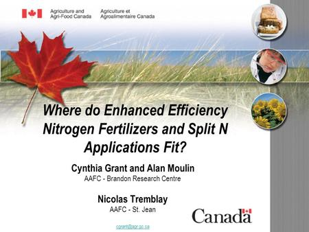 Where do Enhanced Efficiency Nitrogen Fertilizers and Split N Applications Fit? Cynthia Grant and Alan Moulin AAFC - Brandon Research Centre Nicolas Tremblay.
