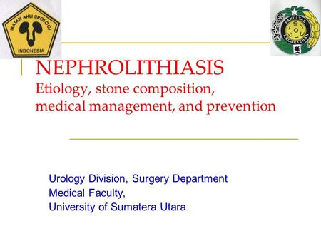 NEPHROLITHIASIS Etiology, stone composition, medical management, and prevention Urology Division, Surgery Department Medical Faculty, University of Sumatera.