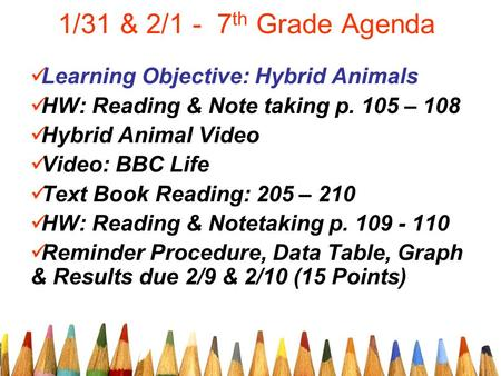 1/31 & 2/1 - 7 th Grade Agenda Learning Objective: Hybrid Animals HW: Reading & Note taking p. 105 – 108 Hybrid Animal Video Video: BBC Life Text Book.