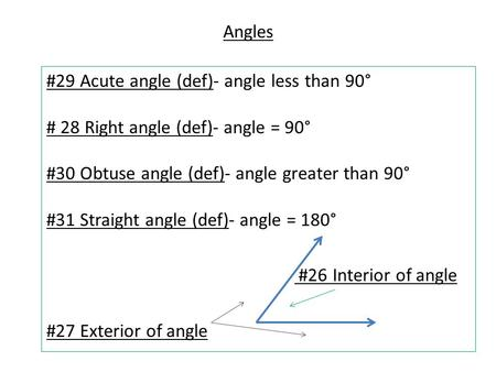 Angles #29 Acute angle (def)- angle less than 90° # 28 Right angle (def)- angle = 90° #30 Obtuse angle (def)- angle greater than 90° #31 Straight angle.