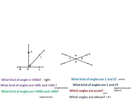 What kind of angle is <MBA? What kind of angles are <ABL and <LBS ? What kind of angles are 1 and 2? What kind of angles are 1 and 3? What kind of angles.