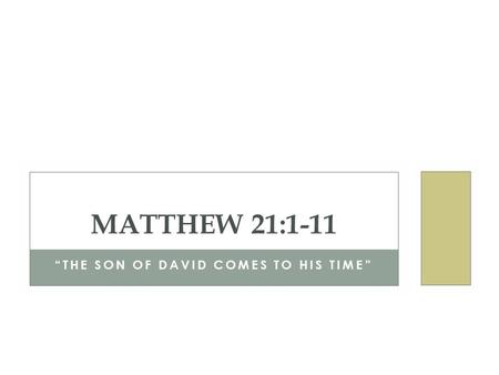 """THE SON OF DAVID COMES TO HIS TIME"" MATTHEW 21:1-11."