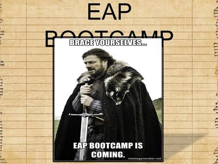 EAP BOOTCAMP. AGENDA: 2/26 Bellwork- grammar Peer Edit Coffman essays Looking at the intro paragraph (take notes) Thesis Statement Worksheet Revise Coffman.