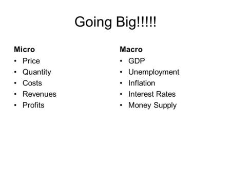 Going Big!!!!! Micro Price Quantity Costs Revenues Profits Macro GDP Unemployment Inflation Interest Rates Money Supply.