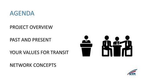 AGENDA PROJECT OVERVIEW PAST AND PRESENT YOUR VALUES FOR TRANSIT NETWORK CONCEPTS.