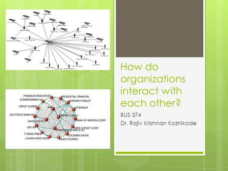 How do organizations interact with each other? BUS 374 Dr. Rajiv Krishnan Kozhikode.