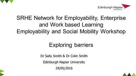 Dr Sally Smith & Dr Colin Smith Edinburgh Napier University 24/05/2016 SRHE Network for Employability, Enterprise and Work based Learning Employability.