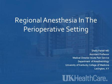 Regional Anesthesia In The Perioperative Setting Shelly Ferrell MD Assistant Professor Medical Director Acute Pain Service Department of Anesthesiology.