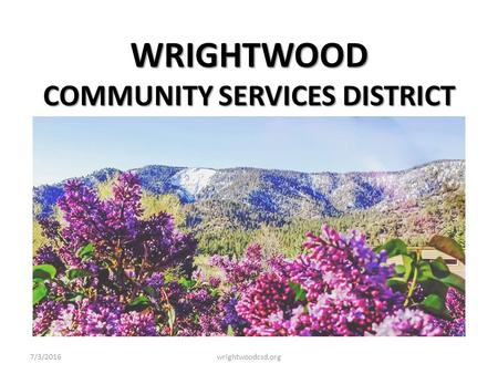 WRIGHTWOOD COMMUNITY SERVICES DISTRICT 7/3/2016wrightwoodcsd.org.
