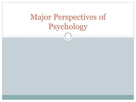 psychological perspective behaviorism Today, we would like to provide our own overview of behaviorism and  but  wrote a seminal paper, psychology as the behaviorist view it in.