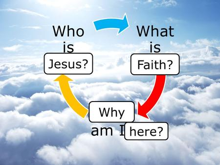 What is Truth? Who am I? Who is God? Faith? here? Jesus? Why.
