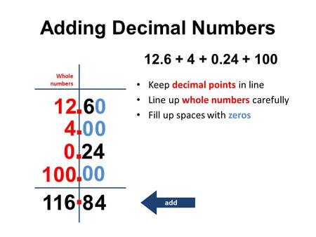 Adding Decimal Numbers Keep decimal points in line Line up whole numbers carefully Fill up spaces with zeros 12.6 + 4 + 0.24 + 100 12.6 4 0.24 100 0 00.