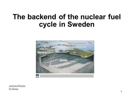 1 António Pereira Fysikum The backend of the nuclear fuel cycle in Sweden.