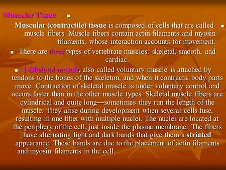 Muscular Tissue Muscular Tissue Muscular (contractile) tissue is composed of cells that are called muscle fibers. Muscle fibers contain actin filaments.