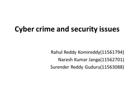 Cyber crime and security issues