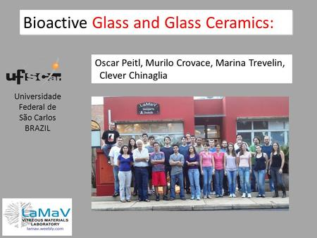 Bioactive Glass and Glass Ceramics: Oscar Peitl, Murilo Crovace, Marina Trevelin, Clever Chinaglia Universidade Federal de São Carlos BRAZIL.
