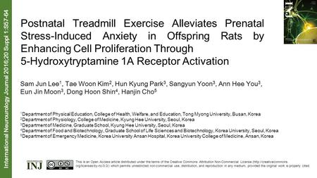 Postnatal Treadmill Exercise Alleviates Prenatal Stress-Induced Anxiety in Offspring Rats by Enhancing Cell Proliferation Through 5-Hydroxytryptamine 1A.