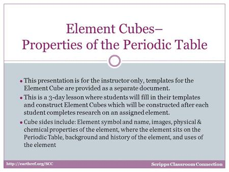 ● This presentation is for the instructor only, templates for the Element Cube are provided as a separate document. ● This is a 3-day lesson where students.