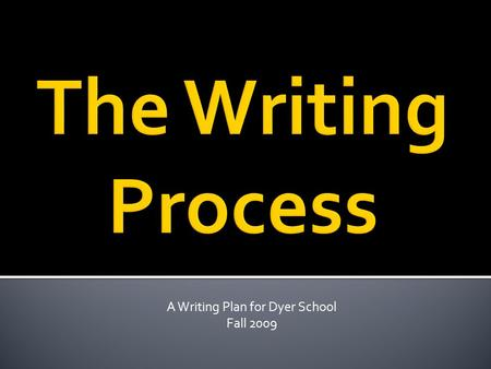 A Writing Plan for Dyer School Fall 2009.  Prewriting– generate ideas  Drafting– organize & write it down  Revising– refine & make it better  Editing–