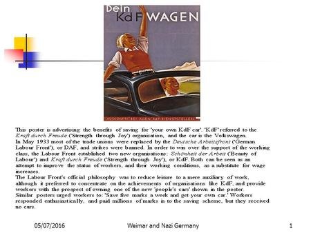 05/07/2016Weimar and Nazi Germany1 2 Hitler's Economic Policy How Hitler Transformed the German Economy.