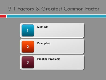 9.1 Factors & Greatest Common Factor 33 22 11 Methods Examples Practice Problems.