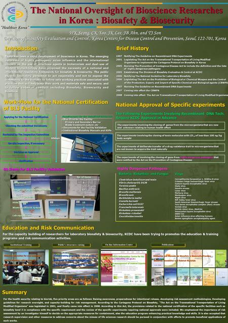 The National Oversight of Bioscience Researches in Korea : Biosafety & Biosecurity WK Seong, CK Yoo, JK Lee, JB Ahn, and TJ Son Division of Biosafety Evaluation.