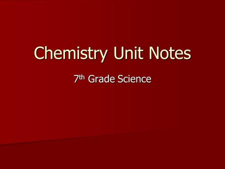 Chemistry Unit Notes 7 th Grade Science Basic Vocabulary  Matter: Anything that has mass and volume  Mass: Amount of matter in an object  Weight: