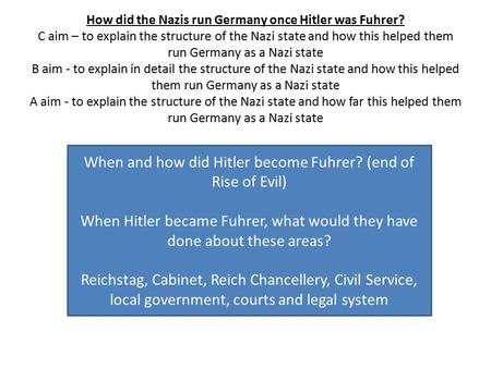 How did the Nazis run Germany once Hitler was Fuhrer? C aim – to explain the structure of the Nazi state and how this helped them run Germany as a Nazi.