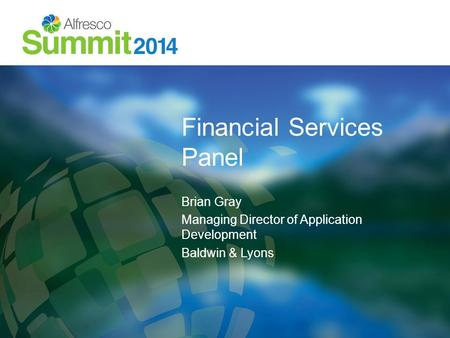 Financial Services Panel Brian Gray Managing Director of Application Development Baldwin & Lyons.