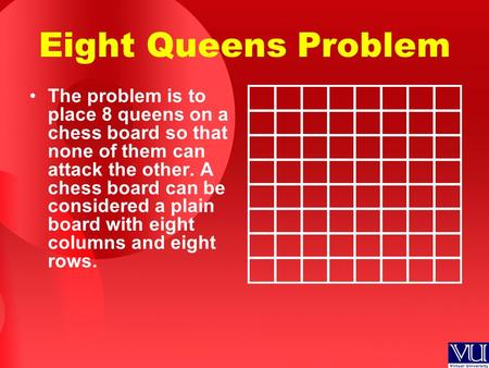 Eight Queens Problem The problem is to place 8 queens on a chess board so that none of them can attack the other. A chess board can be considered a plain.