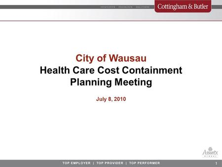 1 City of Wausau Health Care Cost Containment Planning Meeting July 8, 2010.