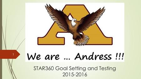 STAR360 Goal Setting and Testing 2015-2016 1. Agenda for Eagle Support  Today's Eagle Support is a reminder of the following: 1.STAR360 testing – What.