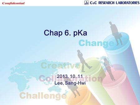 Chap 6. pKa 2013. 10. 11 Lee, Sang-Hwi. Overview  Medicinal chemists can modify the acidic or basic substructures on the scaffold in order to obtain.