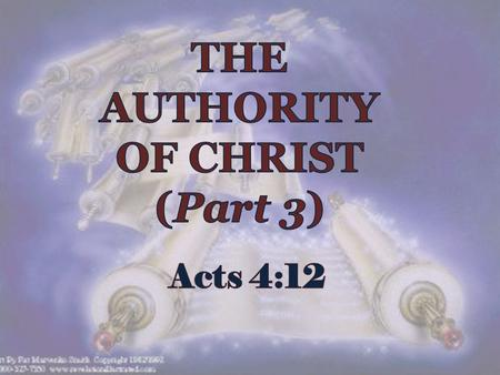 Introduction : 1. Acts 4:12 : Authority and salvation is in only one name: we must submit to receive salvation.
