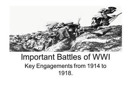 Important Battles of WWI Key Engagements from 1914 to 1918.