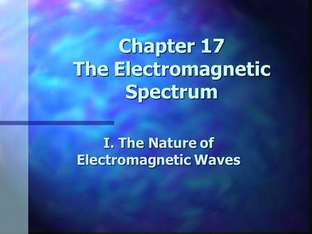 Chapter 17 The Electromagnetic Spectrum I. The Nature of Electromagnetic Waves.