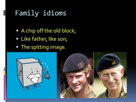 Family idioms A chip off the old block; Like father, like son;