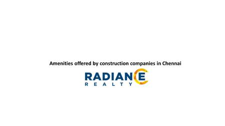 Amenities offered by construction companies in Chennai.