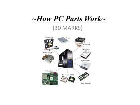 ~How PC Parts Work~ (30 MARKS). List 4 External components you can see on the PC in front of you and describe the basic function of each one. 1) DVD Drive.