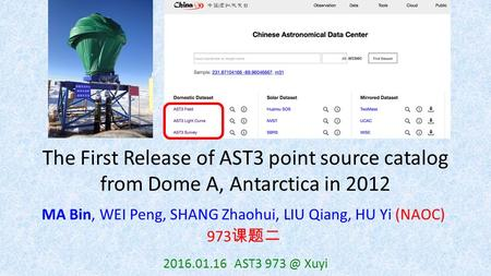The First Release of AST3 point source catalog from Dome A, Antarctica in 2012 MA Bin, WEI Peng, SHANG Zhaohui, LIU Qiang, HU Yi (NAOC) 973 课题二 2016.01.16.