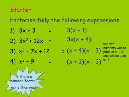 Starter Factorise fully the following expressions 1)3x + 3= 2)3x 2 + 12x= 3)x 2 - 7x + 12= 4)x 2 – 9= is there a common factor? more than one? 3(x + 1)